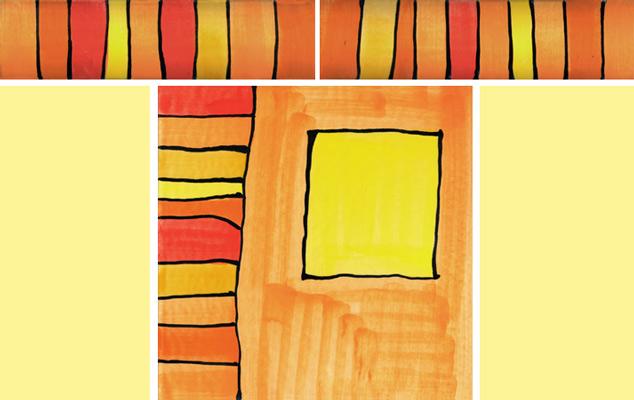 Bordüre mit passender Fliese Streifen orange 102 von Guido Kratz