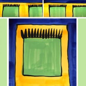 Bordüre mit passender Fliese Teppich blau grün 112 von Guido Kratz
