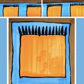 Bordüre mit passender Fliese Teppich braun blau 113 von Guido Kratz