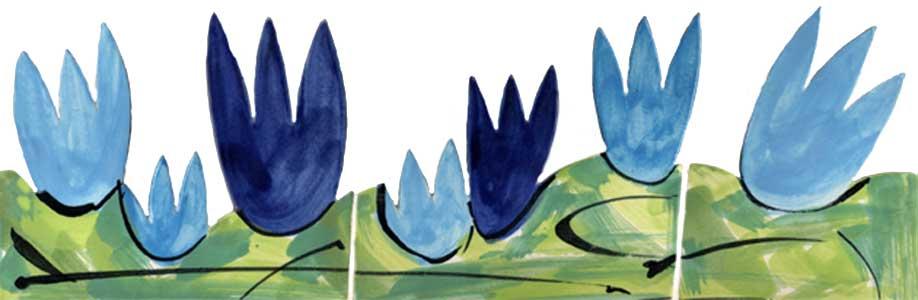 Handgeschnittene und bemalte Bordüre Tulpen blau grün 311 von Guido Kratz