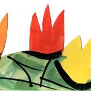 Handgeschnittene und bemalte Bordüre Tulpen grün rot 310 von Guido Kratz