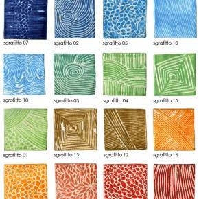 Übersicht Keramik-Pflastersteine mit Sgrafitto-Dekoren con Guido Kratz aus Hannover