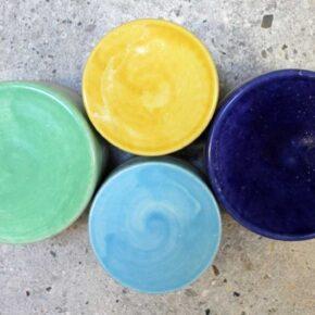 Vier Keramikpflastersteine rund einfarbig von Guido Kratz aus Hannover