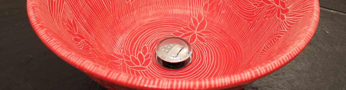 Handgedrehtes Keramik Waschbecken Ausschnitt von Guido Kratz aus Hannover