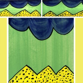 Bordüre mit passender Fliese Welle Zacken grün gelb 120 von Guido Kratz