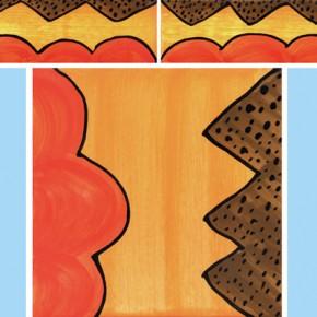 Bordüre mit passender Fliese Welle Zacken rot braun 118 von Guido Kratz