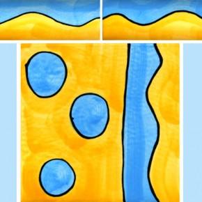 Bordüre mit passender Fliese Wellen blau gelb 105 von Guido Kratz