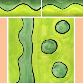 Bordüre mit passender Fliese Wellen grün 104 von Guido Kratz