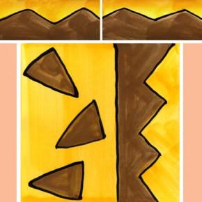 Bordüre mit passender Fliese Zacken gelb braun 115 von Guido Kratz