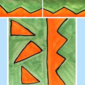 Bordüre mit passender Fliese Zacken grün orange 116