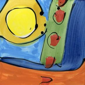 farbige Malerei auf hochgebrannter Keramikfliese von Guido Kratz aus Hannover