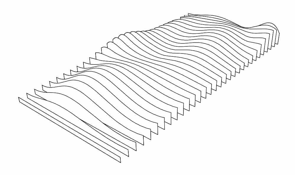Konstruktionszeichnung eines dynamischen Wandrelief aus Keramik von Guido Kratz aus Hannover