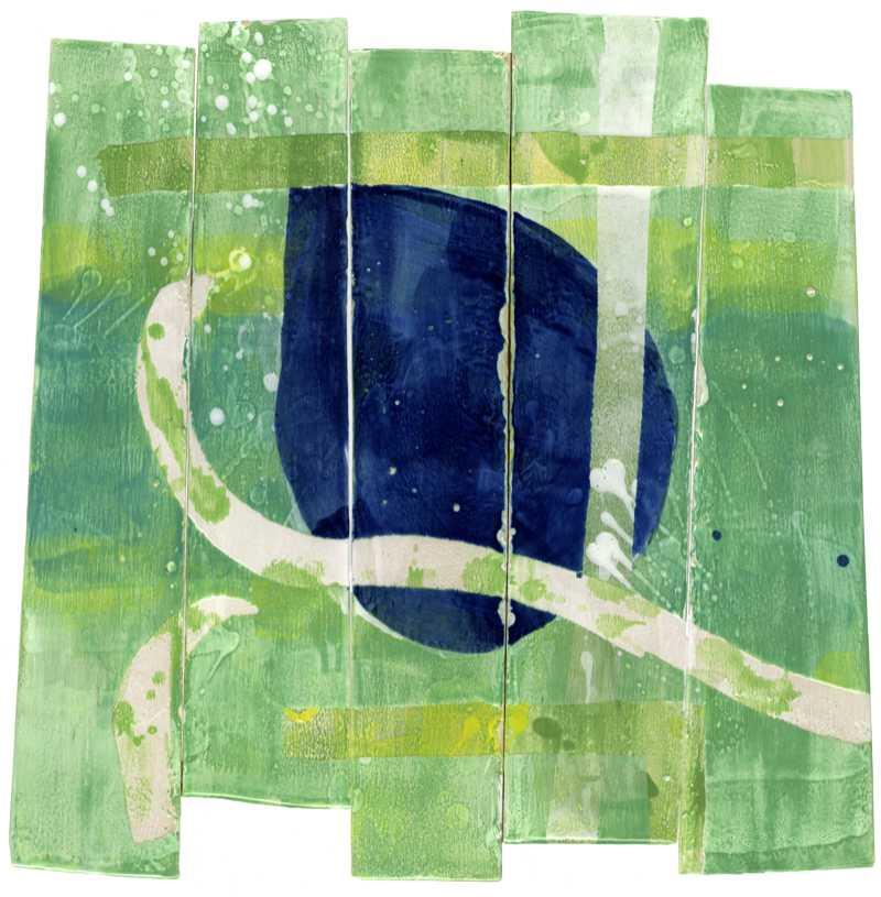 Blauer Punkt, Hochtemperaturmalerei auf Keramik von Guido Kratz aus Hannover